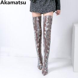 Сапоги на высоких каблуках онлайн-Akamatsu  bota feminina python skin crotch leather thigh high heel long booties pointed toe overknee boots woman