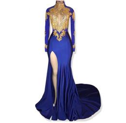 2019 vestiti blu dalla parte superiore del tubo Abiti lunghi da ballo sexy con scollo alto a maniche lunghe in pizzo oro alta fessura vestito da promenade sirena africana blu royal