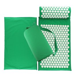 Drop Shipping Lotus Acupuncture Mat Massage Yoga Mat Fitness Shakti for back Cushion Relieve Stress and Pillow Set Pin Pad от