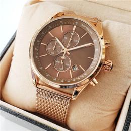 самые маленькие часы Скидка Высокое Качество Босс Марка кварцевые наручные часы для Мужчин Многофункциональный стиль из нержавеющей стали Календарь Дата Часы Маленькие циферблаты могут работать BS01