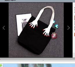 2019 weiche beutelkorea Korea Harajuku Spaß retro weiche Schwester doppelseitige Stickerei Finger grüne Tasche Leinwand Umhängetasche Einkaufen günstig weiche beutelkorea