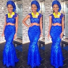 2019 königsblau afrikanische traditionelle kleider Afrikanische traditionelle Abendkleider Sexy Royal Blue Mermaid Zwei Stücke Lace Prom Dresses Abendgarderobe günstig königsblau afrikanische traditionelle kleider