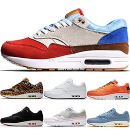 Mini tênis on-line-Novo 1 Mens Low Running Shoes Premium Jóia Mini Mulheres Leopardo Sapatos Casuais 87 Man Atmos Universidade Preto Branco X 1 Designer Tênis