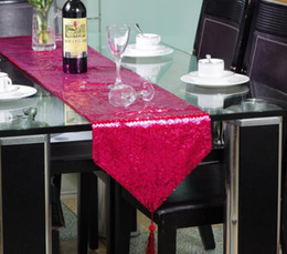 pano de mesa de natal roxo Desconto Moda Roxo de lantejoulas bordado Cama Mesa Corredor de pano toalha de mesa placemat Casamento Do Natal bling moderno toalha de mesa Decoração