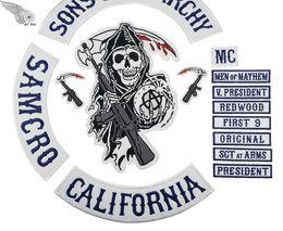 2018 Originale Ricamo Son Of Anarchy Patch Completo Indietro Per Moto Rider Biker Jacket Vest Ferro su 14 pz Patch MC1931 Marca da