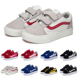 Patineta de bebé online-Vans 2019 Zapatillas de lona calientes old skool kids baby girl boys shoes black white blue fashion flats skateboard casual shoe