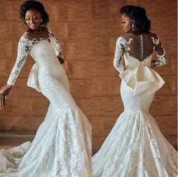 Elegante encaje africano de la boda online-Elegante sirena africana de encaje Sheer vestidos de novia 2019 Sash Plus Size País apliques de manga larga vestido de novia Iglesia novia vestido personalizado