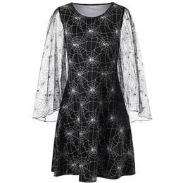 Halloween robes de soirée femmes robe automne araignée imprimer lait robe de soie femmes o-cou manches longues robes de fiesta ? partir de fabricateur