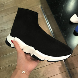green flat boots Coupons - 2019 New Air Wool Knit speed Trainer Sneakers Classic Brand designer Mens Womens Top Fashion Flat Sock Shoes Boot