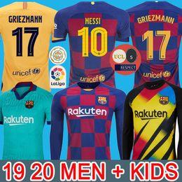 4XL FC BARCELONA maglia da calcio 19 20 Camisetas de Fútbol kit 2019 2020 Messi Griezmann De Jong Maillots camicia de calcio degli uomini + bambini Camisa da