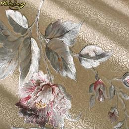 Papel de parede do ouro da sala de estar on-line-Parede à prova de água da folha de ouro American Pastoral Flower Wallpaper de Ouro Prata Quarto fundo Sala TV