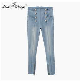 boutons de jeans taille haute Promotion MIAOQING Jeans taille haute pour dames slim jeans en denim extensible bouton doré ajusté pour pantalon crayon décontracté pour dame