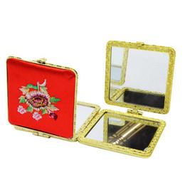 Brodé Fleur Conception Maquillage Miroir Traditionnel Chinois Style Portable Mini Miroir Coeur De Noce Faveur Cadeaux ZC0311 ? partir de fabricateur