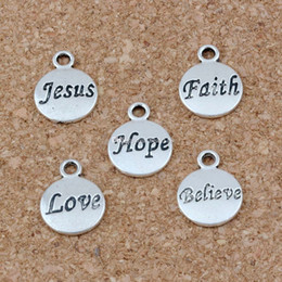 hope believe love charms Coupons - Hope Believe Love Faith Jesus Charms Pendants 100Pcs lot 11.5x15.5mm Antique Silver Fashion Jewelry DIY Fit Bracelets Necklace Earrings