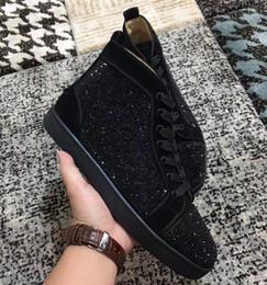 marcas famosas de sapatilhas Desconto Designer Perfeito Preto Cristal de Alta Top Vermelho Inferior Sneakers Para As Mulheres, Homens Se Vestem Famosa Marca de Camurça de Couro Sapatos Casuais