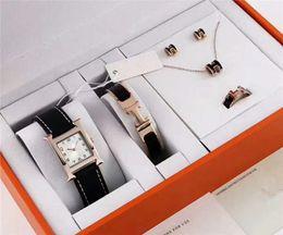 2019 La marca de lujo más reciente reloj pulsera collar pendiente anillo conjuntos 5 en 1 con caja Tienda bolso para mujeres Cuarzo Herm Mejor regalo joyería de diseñador desde fabricantes