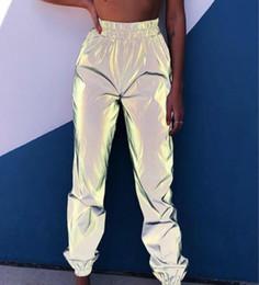 Harem hose frauen tanzen online-Frauen Harem Sweatpants Grau Hip Hop Reflektierende Hosen Mode 2019 Weibliche Lose Leuchtende Tanzen Hosen Plus Größe Pantalon Femme Q190401
