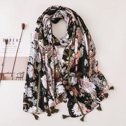borlas de viscosa bufandas Rebajas Moda mujer margarita floral de algodón bufanda de viscosa dama borla chales y abrigos bandana femenino musulmán Hijab Sjaal 180 * 90 cm