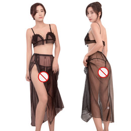 Livraison gratuite nouvelle lingerie sexy cosplay noir et blanc maille longue jupe tulle broderie sexy pyjama style fendu costume tent ? partir de fabricateur