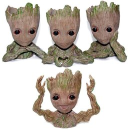 Bambole per gli uomini online-4 Styles Guardians of The Galaxy Flowerpot Tree Man Baby Groot Action Figure Pen Container Doll Cute Model Toys Novelty Items CCA10848 30pcs