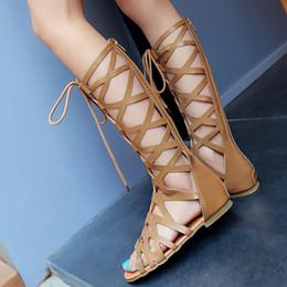 Sandalias para mujer Verano para mujer Moda casual Pisos Rodilla Botas altas Zapatos Roma Sandalias Zapatos de verano desde fabricantes