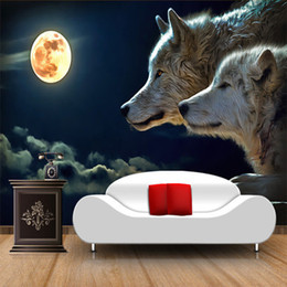 2019 backdrop tv klassisch Gewohnheit jeder Größe große Wandbild Tapete Moonlight Wolf Classic Cartoon Fototapete TV Sofa Hintergrund Fresko Papel De Parede 3D günstig backdrop tv klassisch