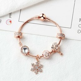 Pulseiras soltas on-line-New hotsale Rose gold loose beads floco de neve pingente bangle charme bead pulseira para a menina DIY Jóias como presente de Natal
