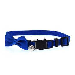 Fibbia a campana online-Cat Bow cravatta cravatta colore puro campana fibbia collare regolabile accessori per animali domestici forniture popolari 4 2kl UU