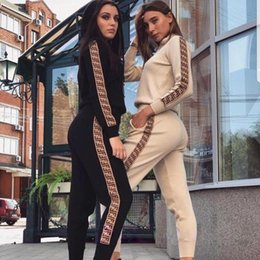 Jogging usa on-line-Treino Mulheres Hat queda Wear Salão Two Piece Set Sweatpants Streetwear CHANDAL Mujer Jogging 2pac Moda Conjunto Feminino