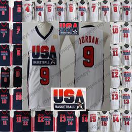 Трикотажные изделия мечты онлайн-1992 Команда США Баскетбол Джерси Dream One # 9 Майкл Берд Юинг Пиппен Дрекслер Мэлоун Стоктон Маллин Баркли Джонсон Ларри Патрик Скотти