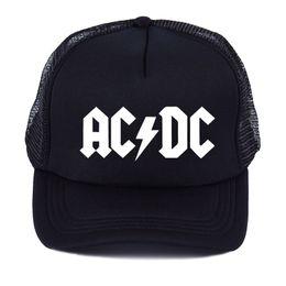 Ventilatore di raffreddamento ac online-Uomo Donna Cool Trucker Mesh Caps ACDC Band Rock Fan Cap AC / DC Rock Band Caps AC DC Heavy Metal Rock Music Fans Cap Hat