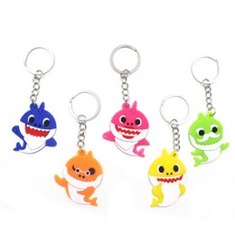 Autos zeug spielzeug online-Baby Shark Hanging Keychain Kreative Silikon PVC Schlüsselanhänger Anhänger Cartoon Gefüllte Puppen Spielzeugauto Tasche Decor Schlüsselanhänger TTA1248