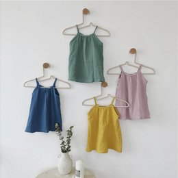 9e19875e96 4 colors Baby strap dress casual loose solid colors children cute beach dresses  children summer fashion clothes loose straight dress styles promotion