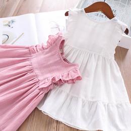 91d58eb6530c6 Enfants été robes filles col rond falbala mouche robe enfants robe de  princesse 2019 nouveaux enfants vêtements rose blanc F7284