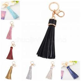 Кисточка для ключей онлайн-Персонализированные золотой кожаный кисточкой брелок женская сумка автомобильный шарм брелок 8 цветов подарок на день святого валентина