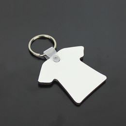 diy t shirt transfer Promo Codes - Wholesale 100pcs DIY MDF Double Blank T-shirt Key Chain Sublimation Wood Key Ring For Heat Press Transfer Jewlery Photo Gift