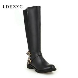 2019 stivali alti a ginocchio LDHZXC Fashion Boots Zipper Piazza Donne tacco rotonda ginocchio Toe Alta cerniera stivali scarpe inverno caldo Taglia 12 13 14 15 sconti stivali alti a ginocchio