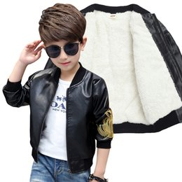 летние мальчики Скидка  Fashion Winter Child Coat Waterproof Embroidery Baby Boys Leather Jackets Children Outfits For Age 3-14 Years Old