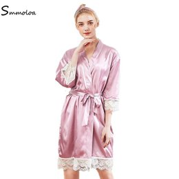 pink satin robe ladies NZ - Smmoloa Lady Sexy Lace Sleepwear Satin Robe  Solid Lingerie Bride 51c0d530d