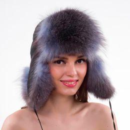 2a92a5b186a Women Lovely Real Fox Fur Hats Natural Raccoon Fox Fur Russian Ushanka Cap  Winter Quality Thick Warm Bomber Hat ushanka fur hat on sale