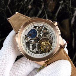 Nuevo 40 mm CALIBRE Fase lunar Tourbillon Hollow blanco Esqueleto Dial Mecánico automático Reloj para hombre Caja de oro rosa Correa de cuero Relojes de marca desde fabricantes