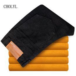 calças de veludo para homens preto Desconto 2019 Recém Cor Preta Casuais Calça Jeans de Inverno Para Homens Moda Simples de Veludo Calça Jeans Quente Dos Homens Grosso Calças de Lã De Pelúcia jean