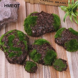 chip rock Coupons - 6pc 1pack Wood Chip Green Foam Fake Rock DIY Artificial Moss Stones Grass Plant Home Garden Decor Micro landscape material
