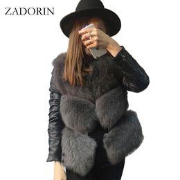 Chaleco de piel sintética online-Nueva moda otoño invierno mujer FAUX Fox Fur Coat con mangas de cuero PU corto Faux Fur Gilet chaquetas manteau fourrure femme
