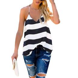 2019 оптовая продажа Модные летние женские сексуальные V-образным вырезом в полоску без рукавов спагетти футболки блузки топ