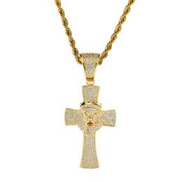 Мужская головная коронка онлайн-хип-хоп крест с бриллиантами кулон ожерелья для мужчин в западном стиле Crown Lion Head роскошное ожерелье из позолоченных медных цирконов кубинские цепи