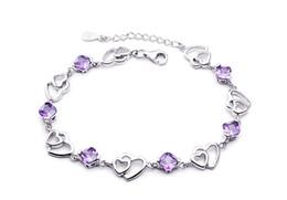 925 pulseira de prata esterlina coração ametista pulseira feminina fabricantes atacado sul coreano acessórios de jóias de