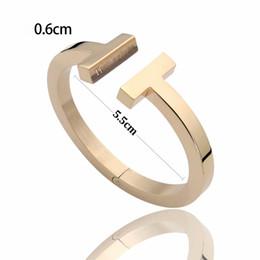 Canada Bijoux en acier au titane 316L 18K Or rose Double T Bracelet Bracelets Poignets Ouvert Bijoux Argent Amour Bracelets Cadeaux Femmes Offre