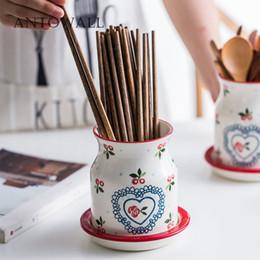 кухонные стеллажи Скидка ANTOWALL Европейские керамические палочки для вишни трубочный сток бытовой кухонный стеллаж палочки для еды клетка ложка бак для хранения