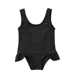 Swimwear del costume da bagno del costume da bagno nero sveglio della neonata dei bambini che nuota i bikini di un pezzo da costumi da bagno nero un pezzo carino fornitori